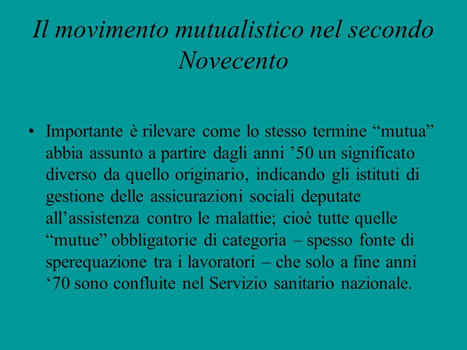 Il movimento mutualistico nel secondo Novecento