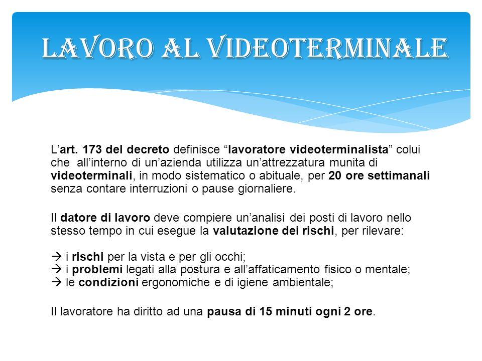 LAVORO AL VIDEOTERMINALE