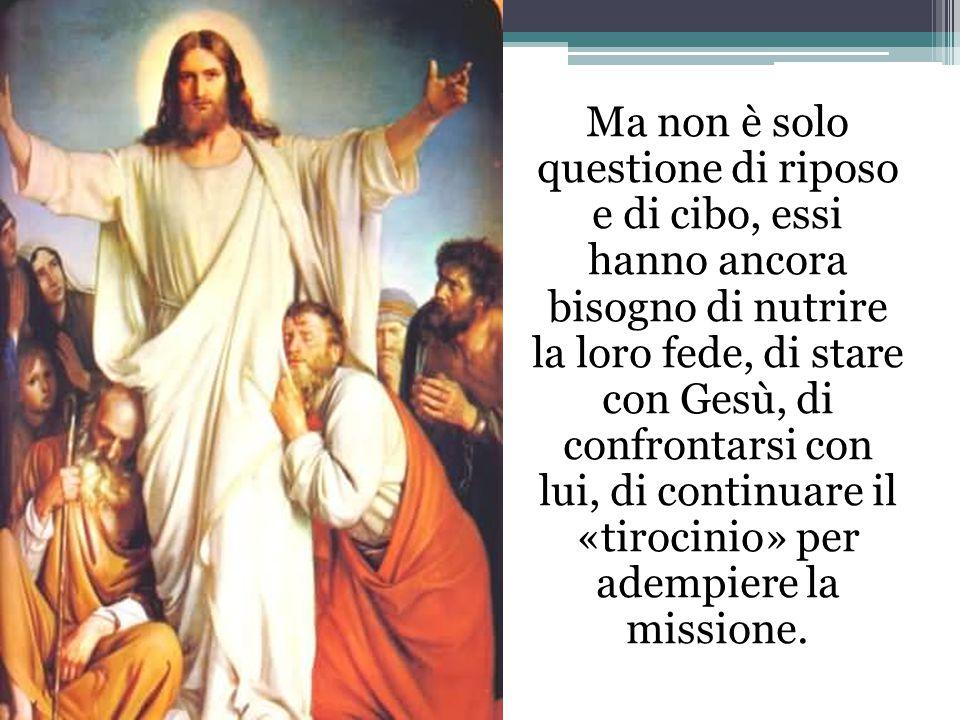 Ma non è solo questione di riposo e di cibo, essi hanno ancora bisogno di nutrire la loro fede, di stare con Gesù, di confrontarsi con lui, di continuare il «tirocinio» per adempiere la missione.