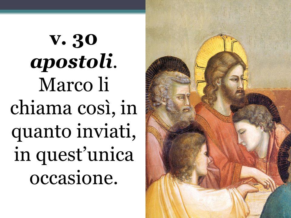 v. 30 apostoli. Marco li chiama così, in quanto inviati, in quest'unica occasione.