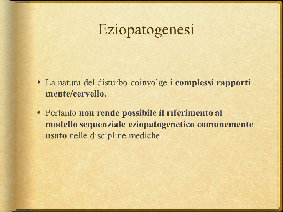 Eziopatogenesi La natura del disturbo coinvolge i complessi rapporti mente/cervello.