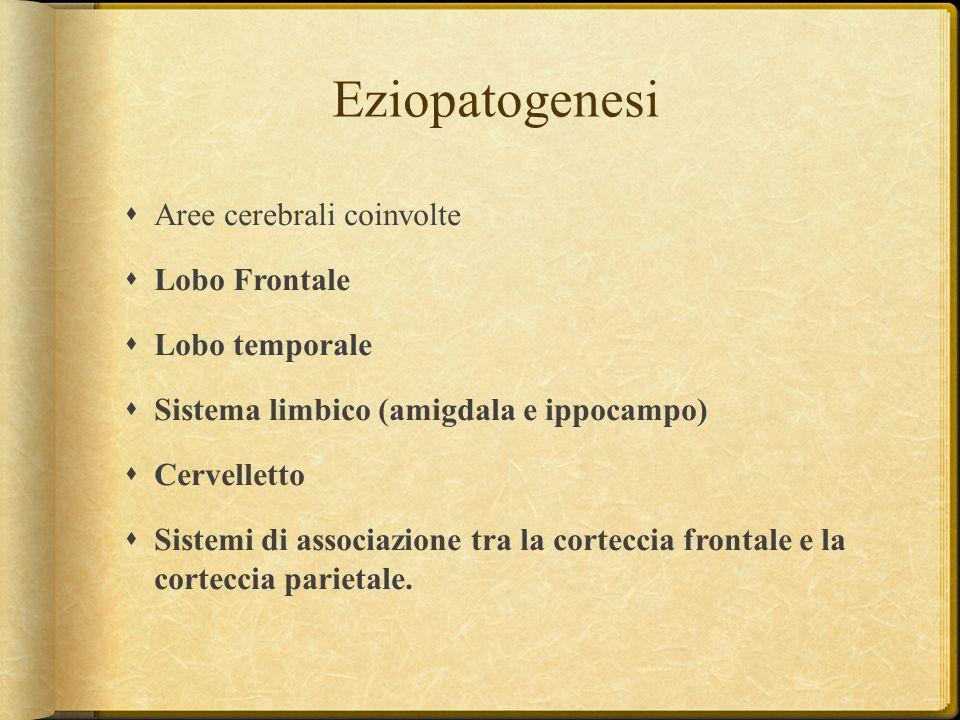 Eziopatogenesi Aree cerebrali coinvolte Lobo Frontale Lobo temporale