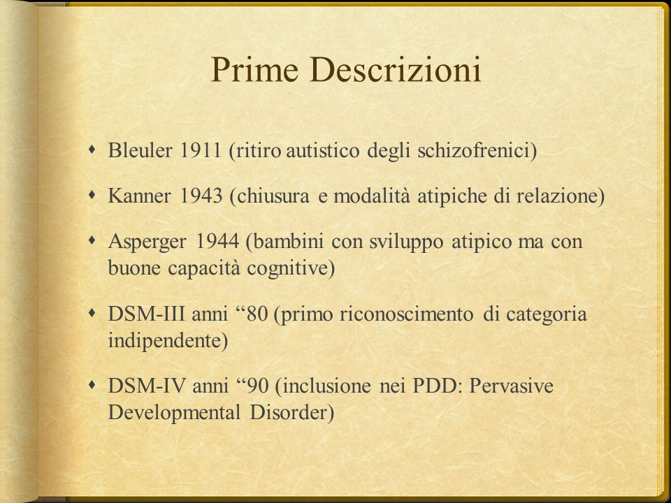 Prime Descrizioni Bleuler 1911 (ritiro autistico degli schizofrenici)