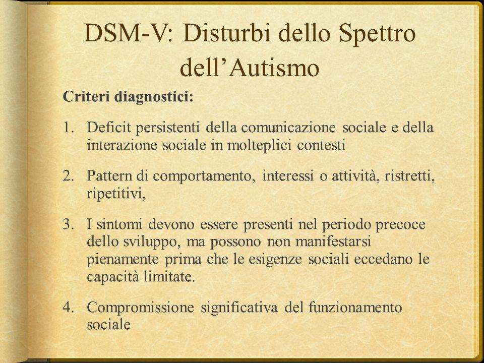 DSM-V: Disturbi dello Spettro dell'Autismo