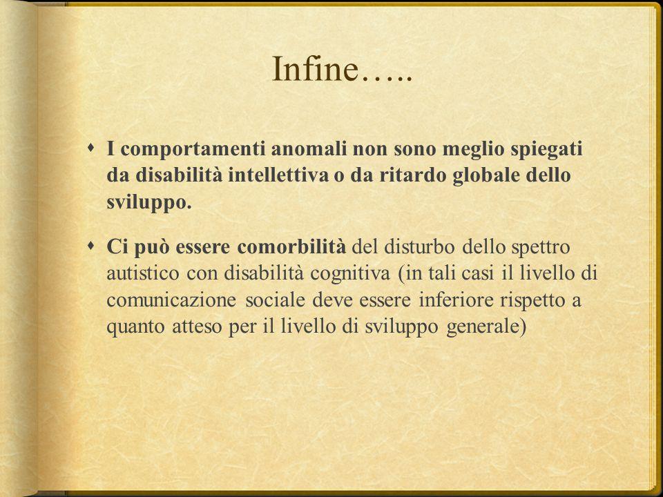 Infine….. I comportamenti anomali non sono meglio spiegati da disabilità intellettiva o da ritardo globale dello sviluppo.