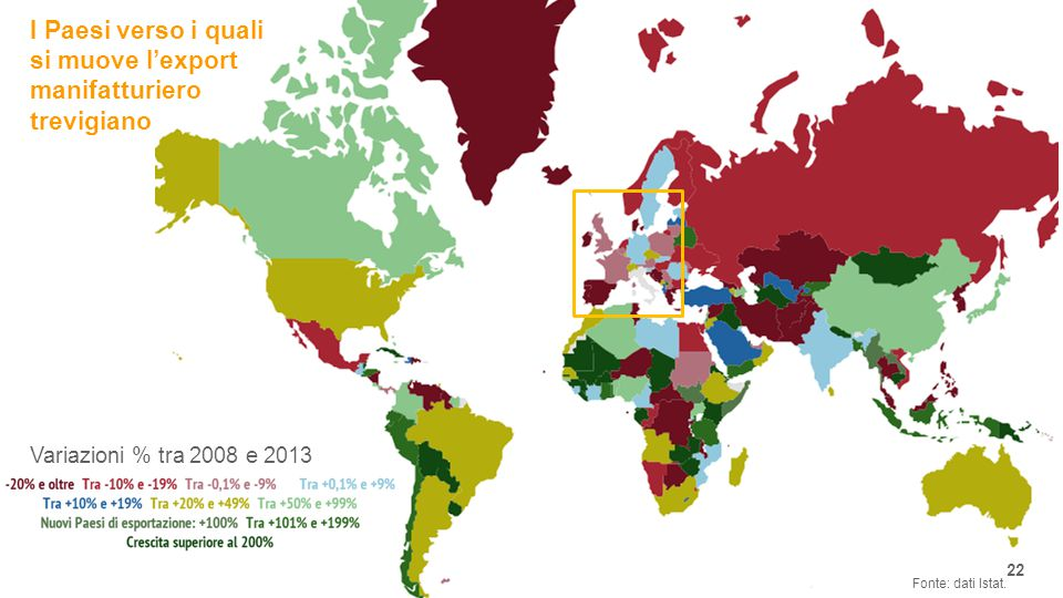 I Paesi verso i quali si muove l'export manifatturiero trevigiano