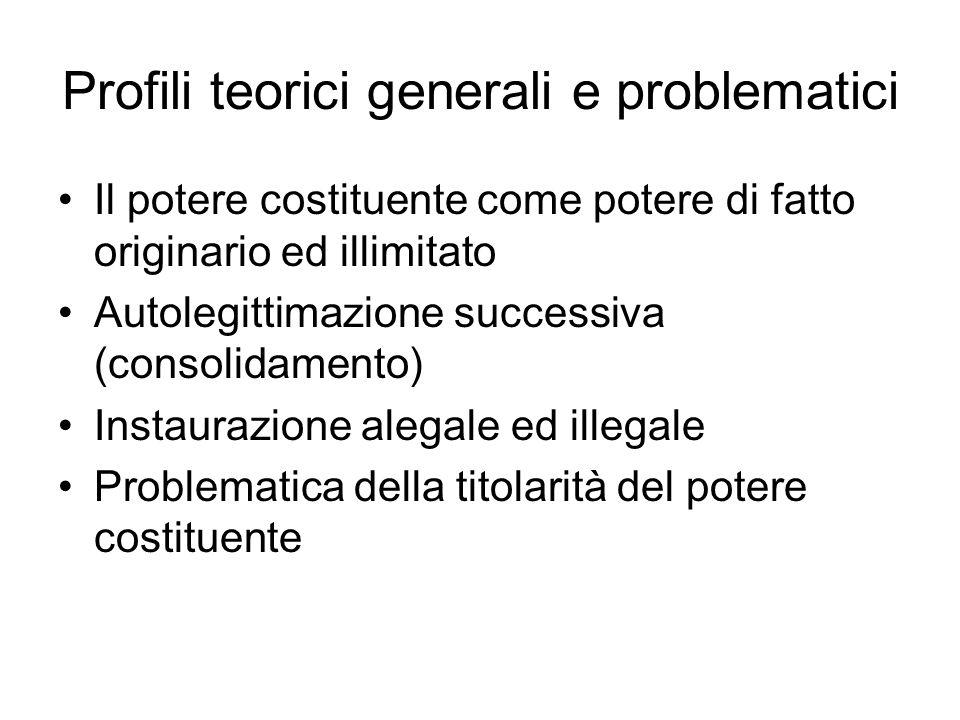 Profili teorici generali e problematici