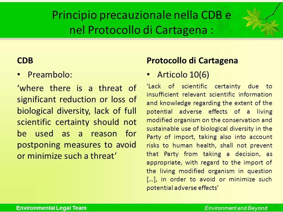 Principio precauzionale nella CDB e nel Protocollo di Cartagena :
