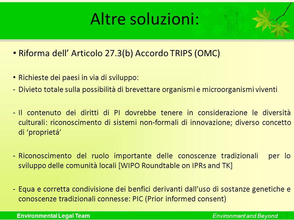 Altre soluzioni: Riforma dell' Articolo 27.3(b) Accordo TRIPS (OMC)