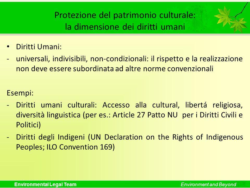Protezione del patrimonio culturale: la dimensione dei diritti umani
