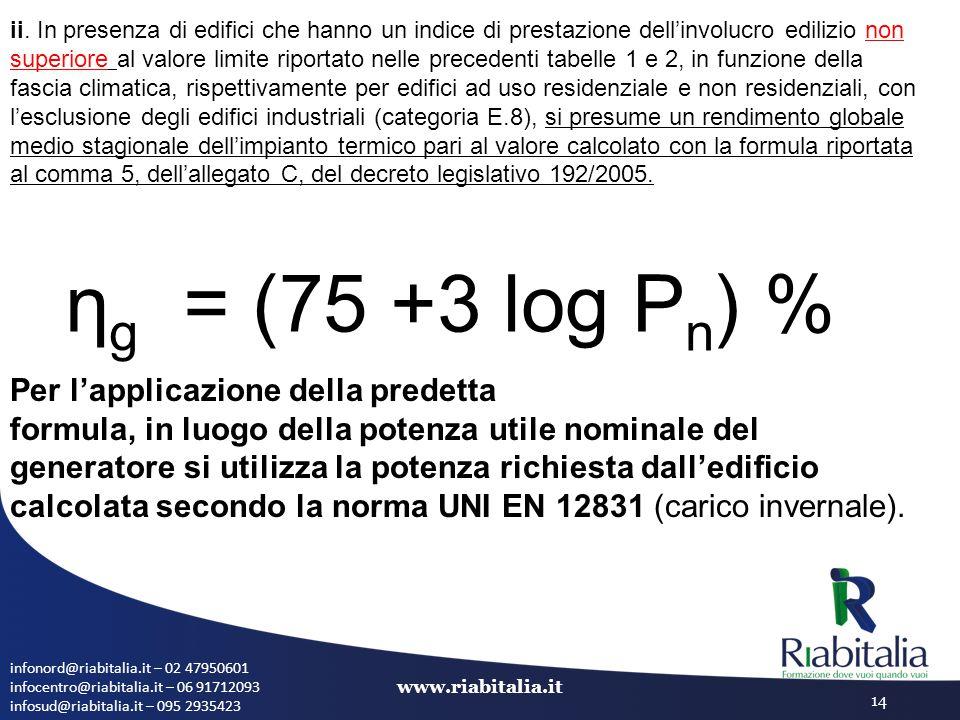 ηg = (75 +3 log Pn) % Per l'applicazione della predetta