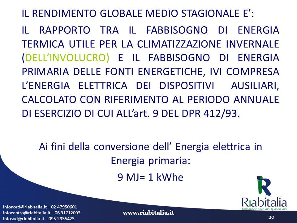 Ai fini della conversione dell' Energia elettrica in Energia primaria: