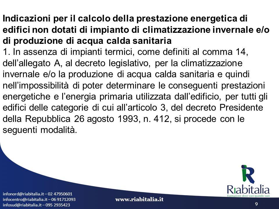 Indicazioni per il calcolo della prestazione energetica di edifici non dotati di impianto di climatizzazione invernale e/o di produzione di acqua calda sanitaria