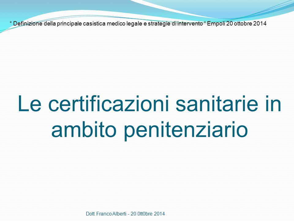 Le certificazioni sanitarie in ambito penitenziario