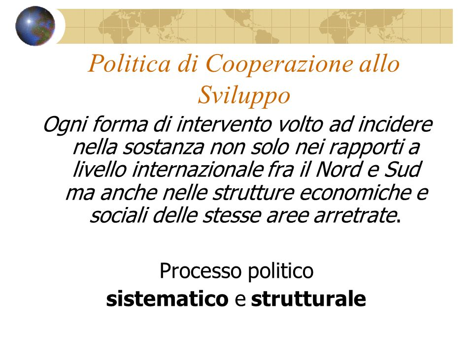 Politica di Cooperazione allo Sviluppo
