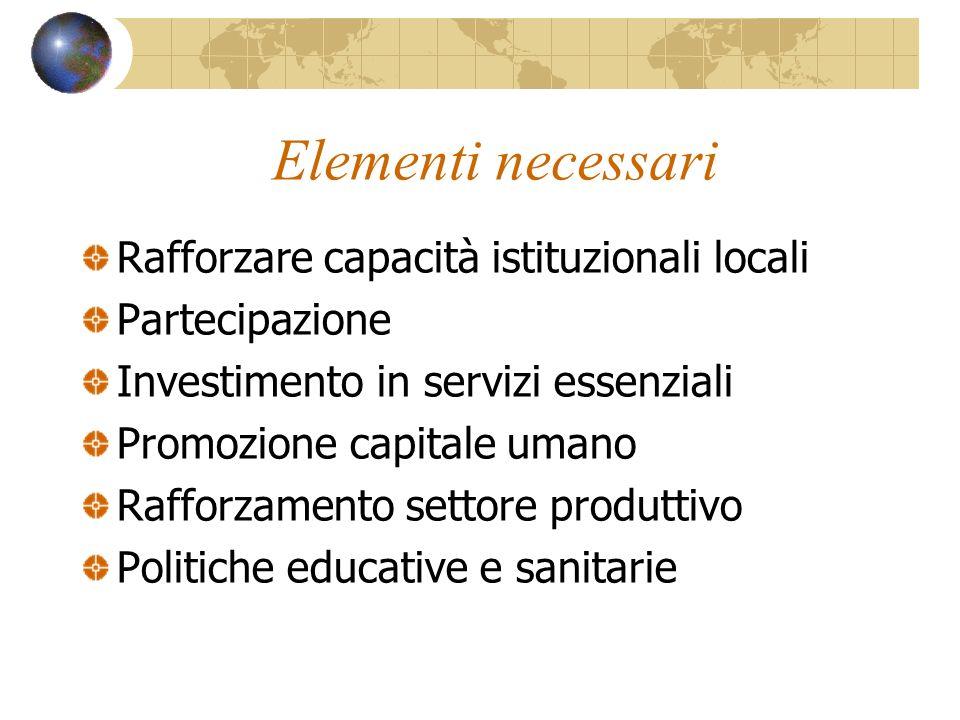 Elementi necessari Rafforzare capacità istituzionali locali
