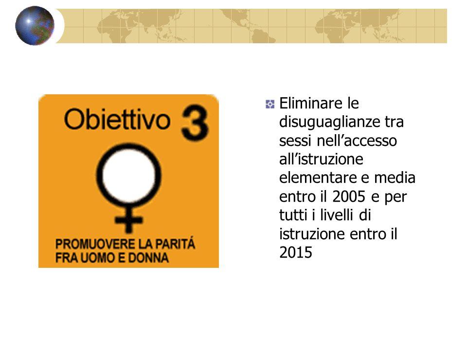 Eliminare le disuguaglianze tra sessi nell'accesso all'istruzione elementare e media entro il 2005 e per tutti i livelli di istruzione entro il 2015