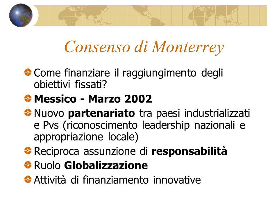 Consenso di Monterrey Come finanziare il raggiungimento degli obiettivi fissati Messico - Marzo 2002.