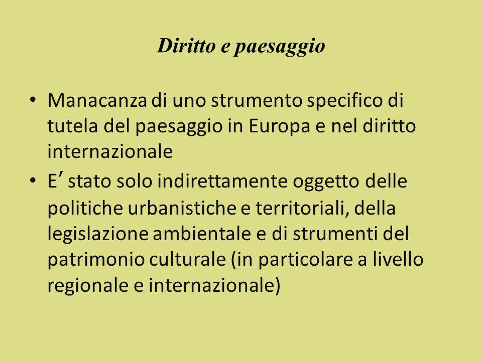 Diritto e paesaggio Manacanza di uno strumento specifico di tutela del paesaggio in Europa e nel diritto internazionale.