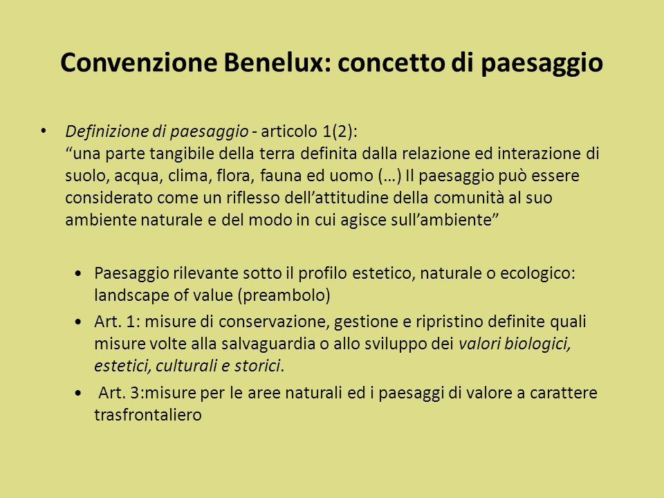Convenzione Benelux: concetto di paesaggio