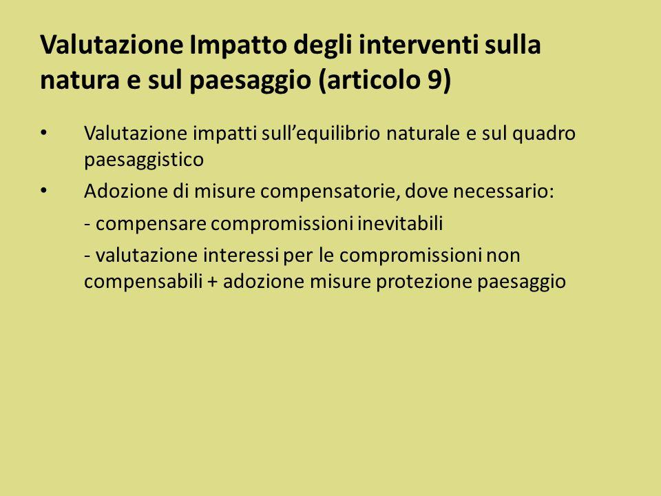 Valutazione Impatto degli interventi sulla natura e sul paesaggio (articolo 9)