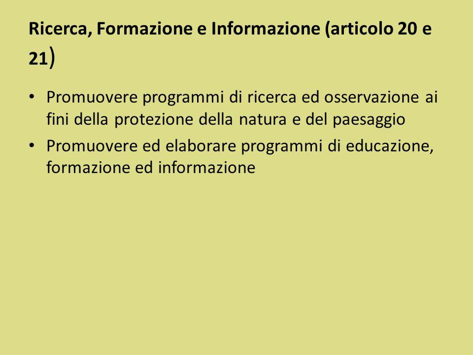Ricerca, Formazione e Informazione (articolo 20 e 21)