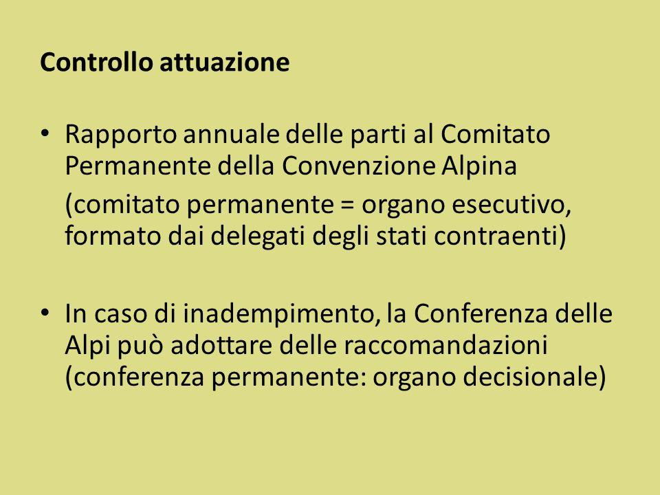 Controllo attuazione Rapporto annuale delle parti al Comitato Permanente della Convenzione Alpina.