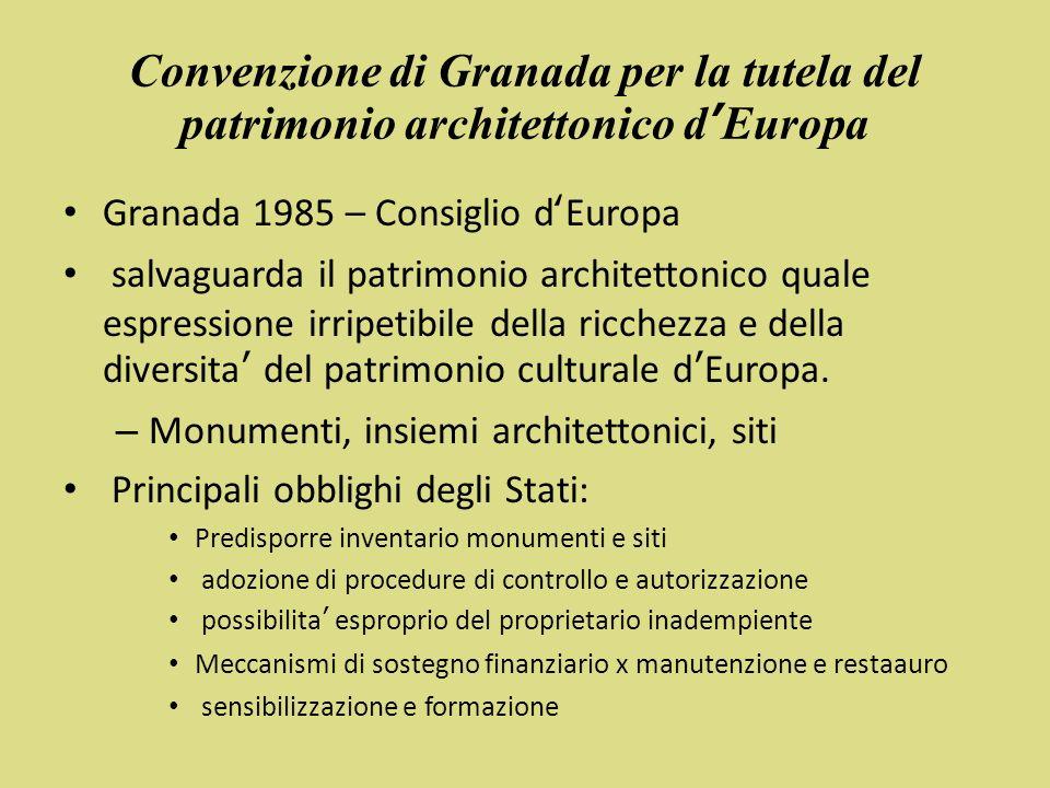 Convenzione di Granada per la tutela del patrimonio architettonico d'Europa