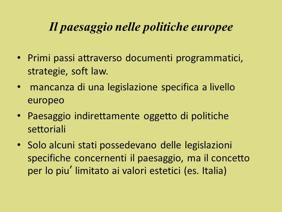 Il paesaggio nelle politiche europee