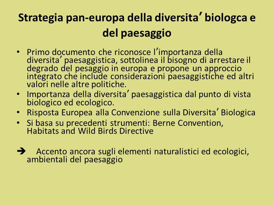 Strategia pan-europa della diversita' biologca e del paesaggio