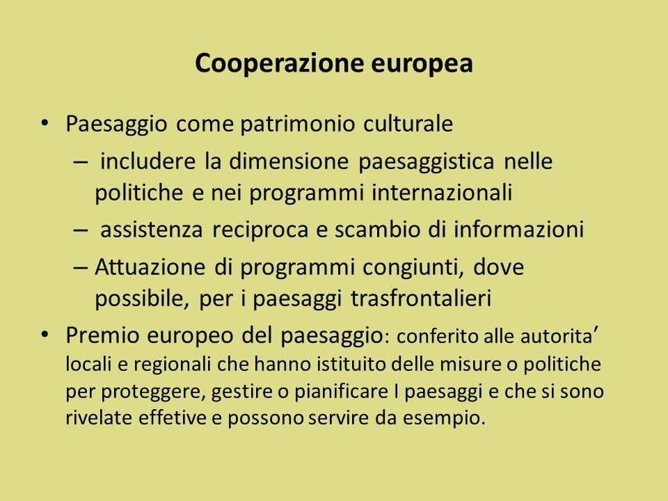 Cooperazione europea Paesaggio come patrimonio culturale