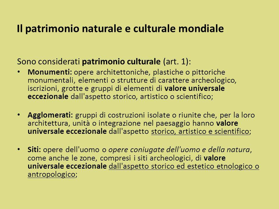Il patrimonio naturale e culturale mondiale
