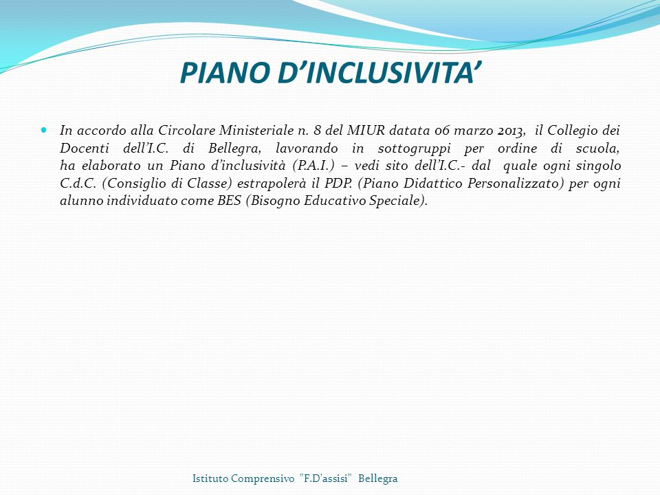 PIANO D'INCLUSIVITA'