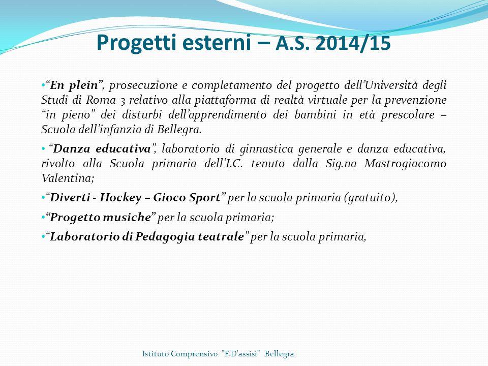 Progetti esterni – A.S. 2014/15