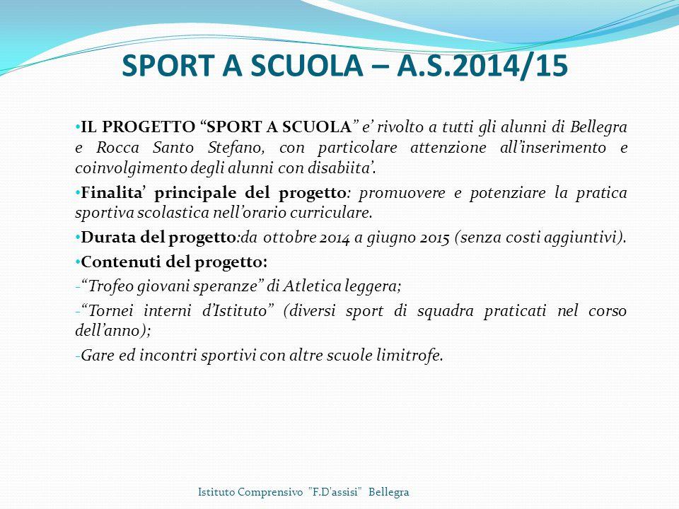 SPORT A SCUOLA – A.S.2014/15