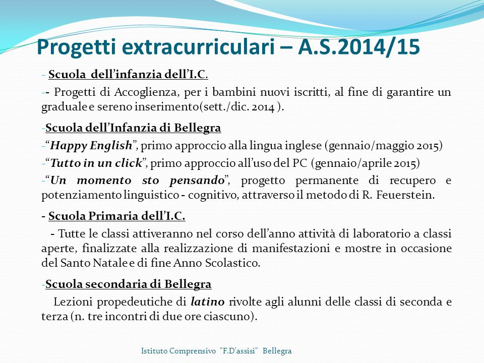 Progetti extracurriculari – A.S.2014/15