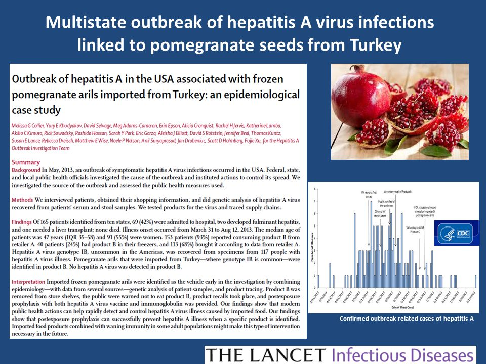 Multistate outbreak of hepatitis A virus infections linked to pomegranate seeds from Turkey