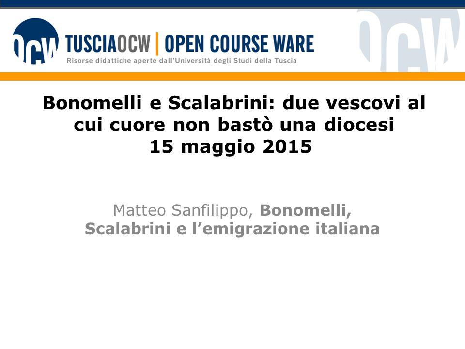 Matteo Sanfilippo, Bonomelli, Scalabrini e l'emigrazione italiana