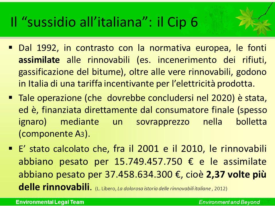 Il sussidio all'italiana : il Cip 6