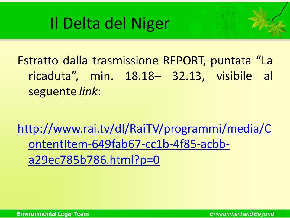 Il Delta del NigerEstratto dalla trasmissione REPORT, puntata La ricaduta , min. 18.18– 32.13, visibile al seguente link: