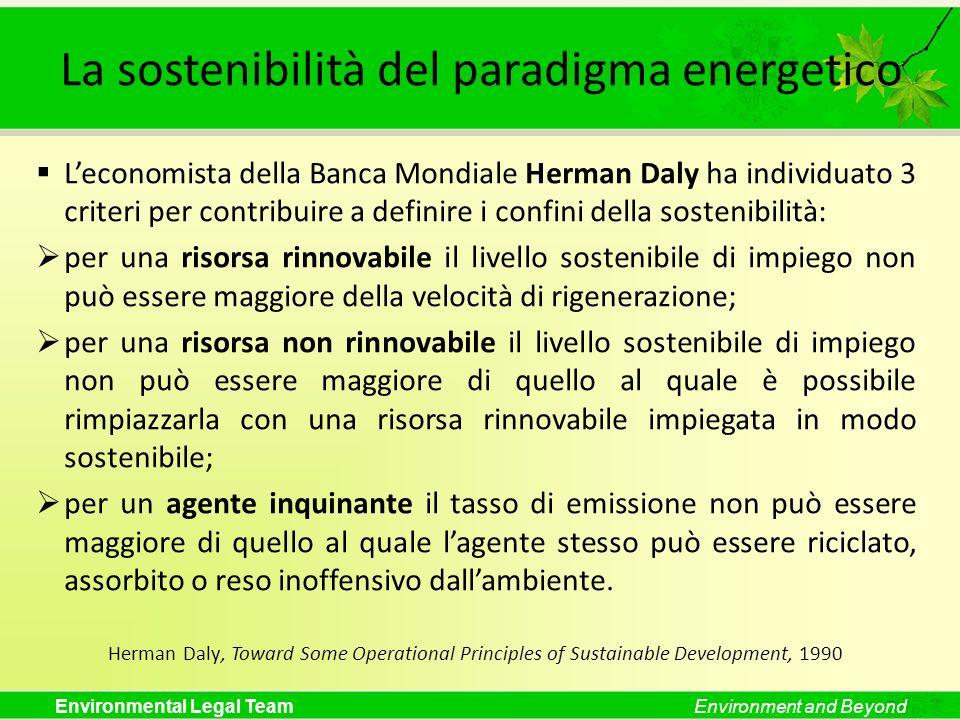La sostenibilità del paradigma energetico