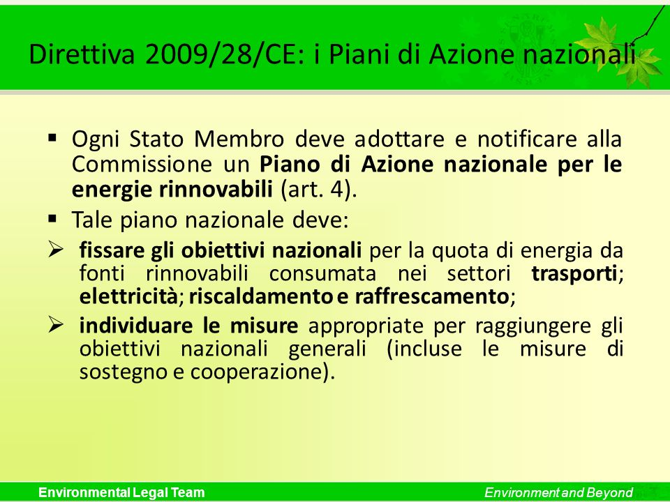 Direttiva 2009/28/CE: i Piani di Azione nazionali
