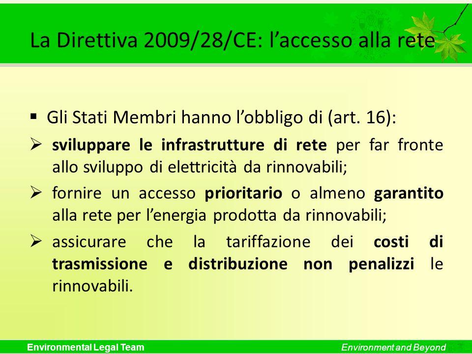 La Direttiva 2009/28/CE: l'accesso alla rete