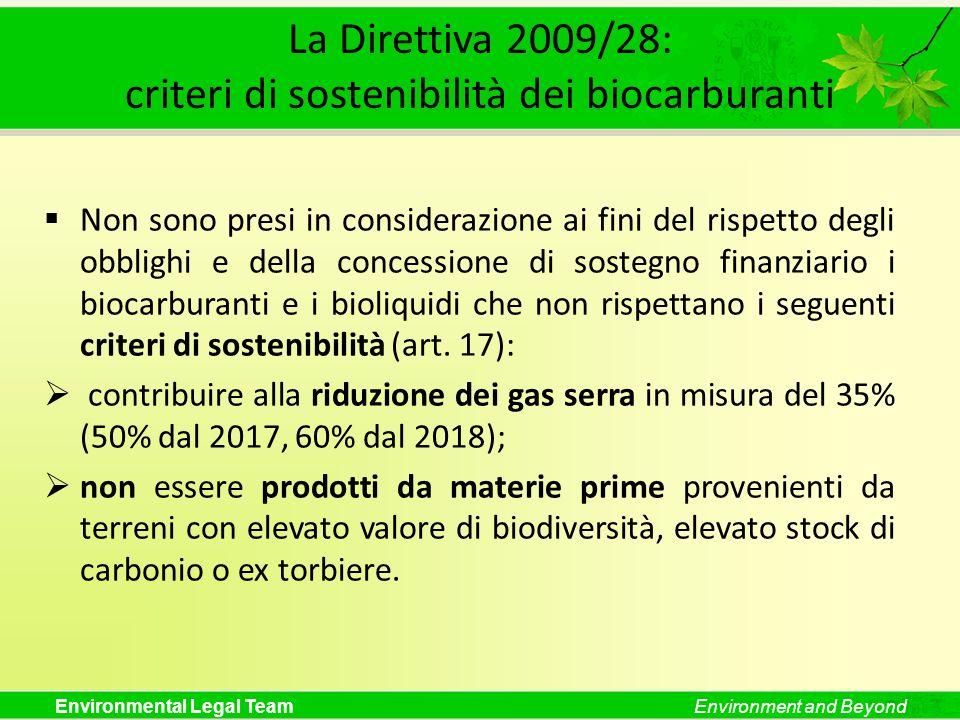 La Direttiva 2009/28: criteri di sostenibilità dei biocarburanti