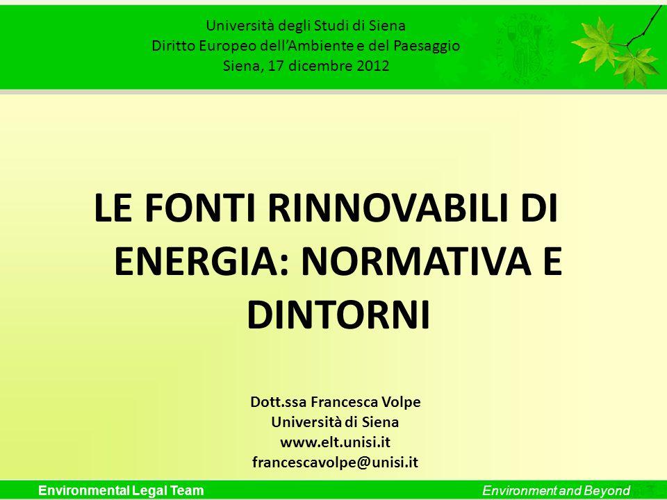 LE FONTI RINNOVABILI DI ENERGIA: NORMATIVA E DINTORNI