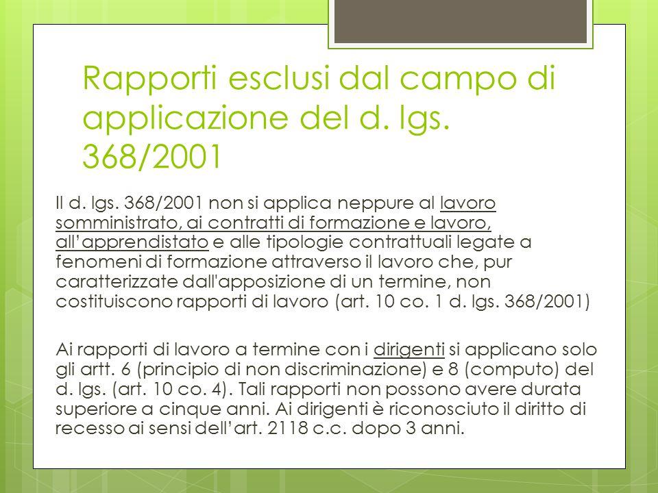Rapporti esclusi dal campo di applicazione del d. lgs. 368/2001