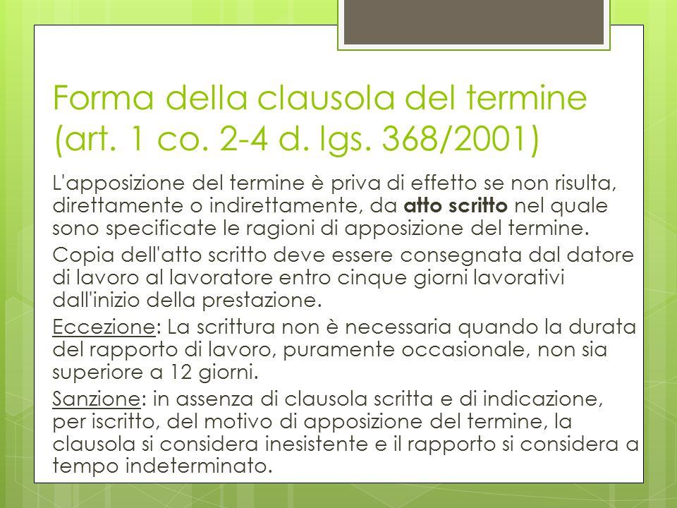 Forma della clausola del termine (art. 1 co. 2-4 d. lgs. 368/2001)