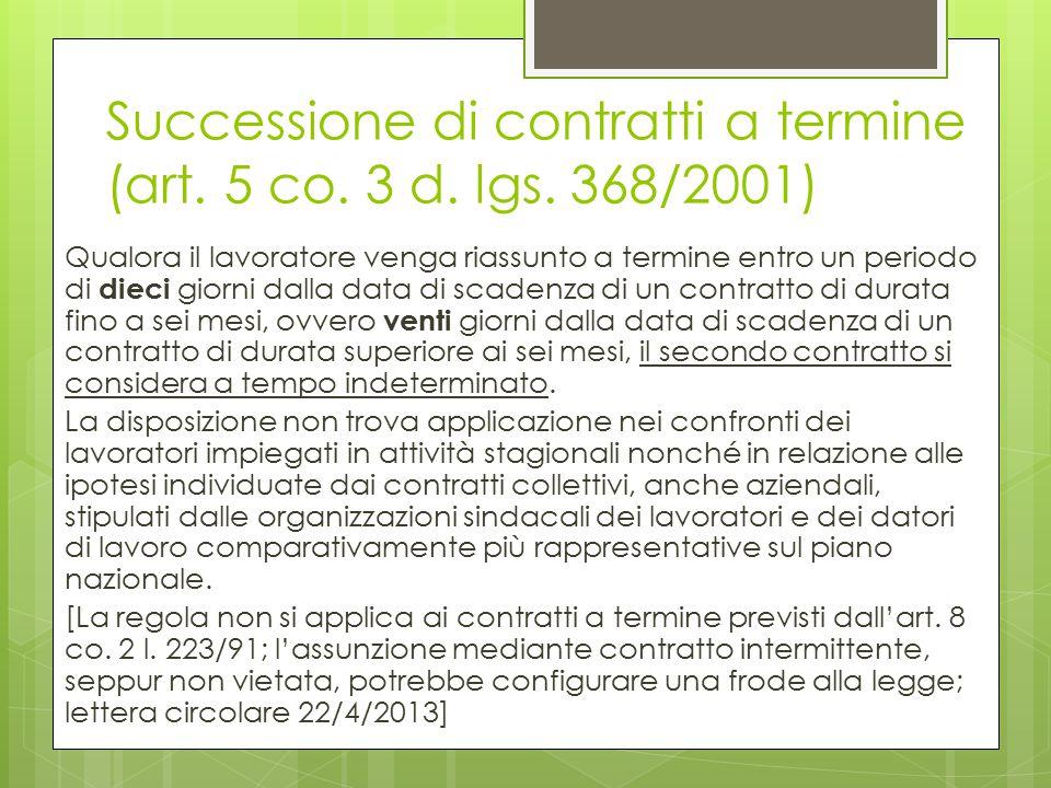 Successione di contratti a termine (art. 5 co. 3 d. lgs. 368/2001)