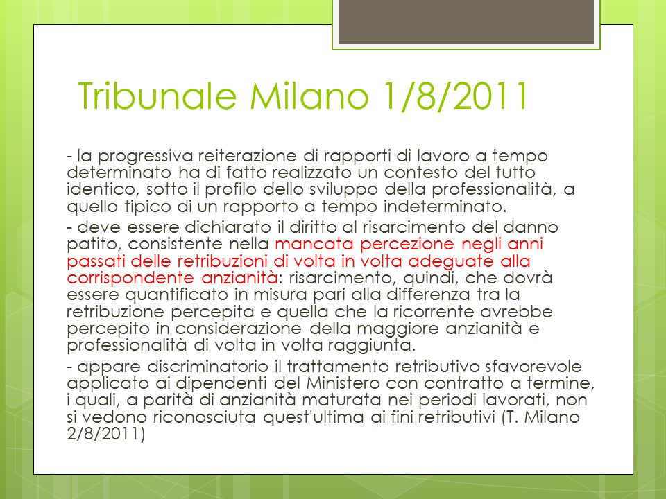 Tribunale Milano 1/8/2011
