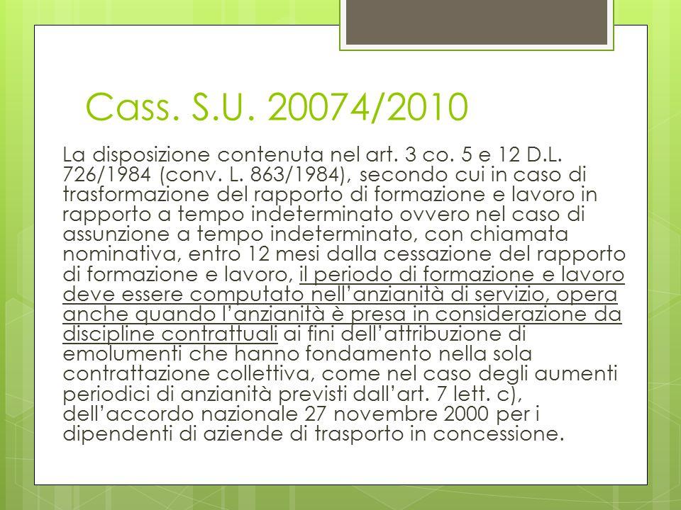Cass. S.U. 20074/2010